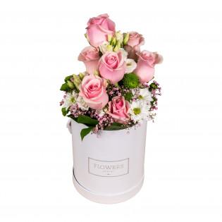 Mix biało-różowy kwiatów w...