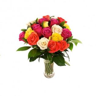 Bukiet 25 róż mix kolorów