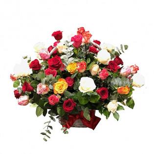Kosz 50 róż różnokolorowych