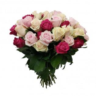 Bukiet 40 róż kremowo różowych