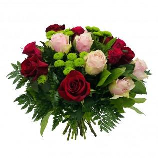 15 róż czerwono różowych